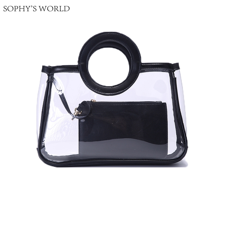 New 2017 Summer Transparent Jelly Bag Leather Women Bag Patchwork PVC Clutch Tote Bag Ladies Purse Beach Bag With Pouch