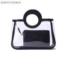 Neue 2017 Sommer Transparent Zipfel Leder Frauen Tasche Patchwork PVC Handtasche Einkaufstasche Damen Handtasche Strandtasche Mit Beutel