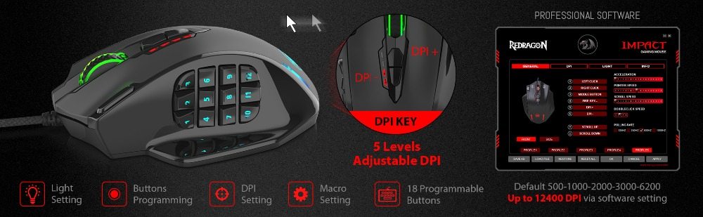 US $29 99 35% OFF|Redragon M908 12400 DPI IMPACT Gaming Mouse 19  Programmable Buttons RGB LED Laser Wired MMO Mouse High Precision Mouse PC  Gamer-in
