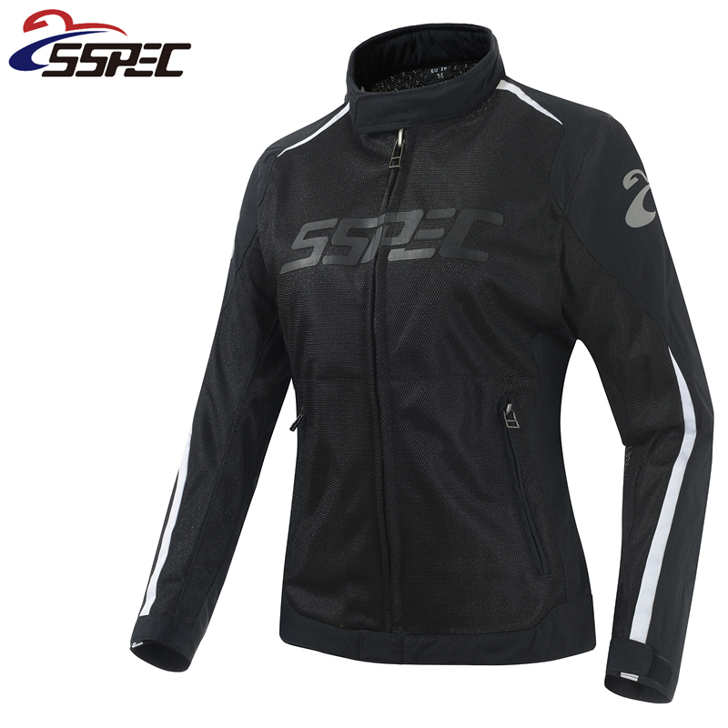Women Motocross Jacket Spring Summer Motorcycle Jacket breathable Mesh Riding moto protective clothing with black