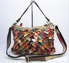 The new leather handbag Sheepskin splicing handbag color one shoulder inclined shoulder bag