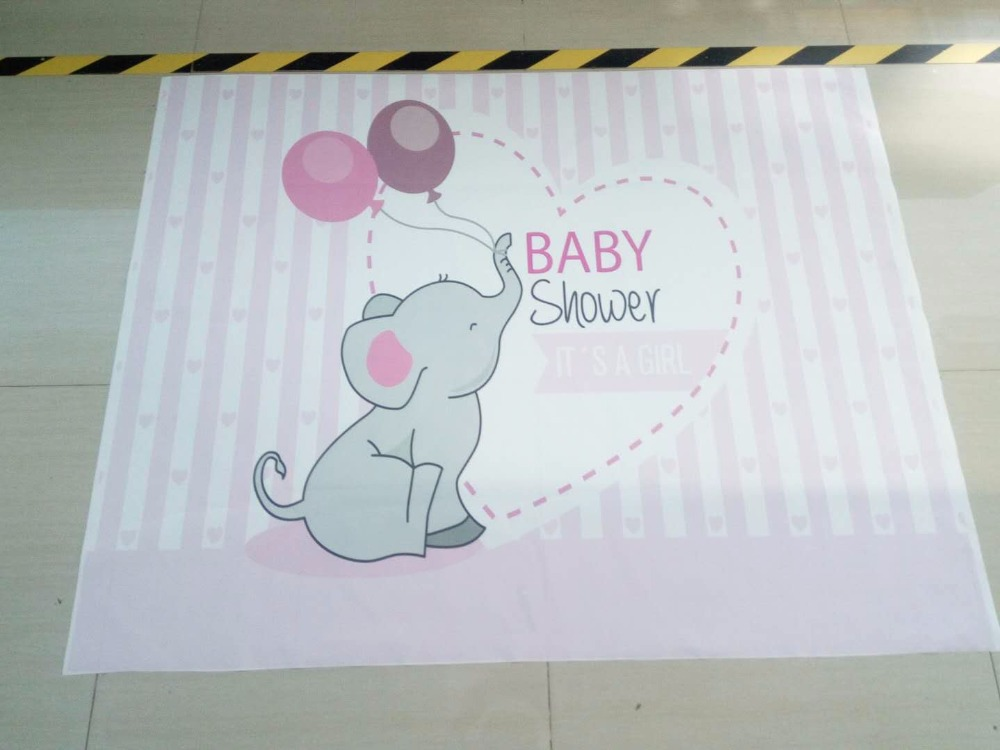 Backdrop photographic studio pink blue stripes elephant baby shower girl boy balloons background original design photocall in Background from Consumer Electronics