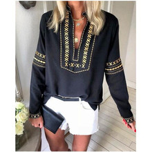 Long Sleeve National Style Print Tops Blouse
