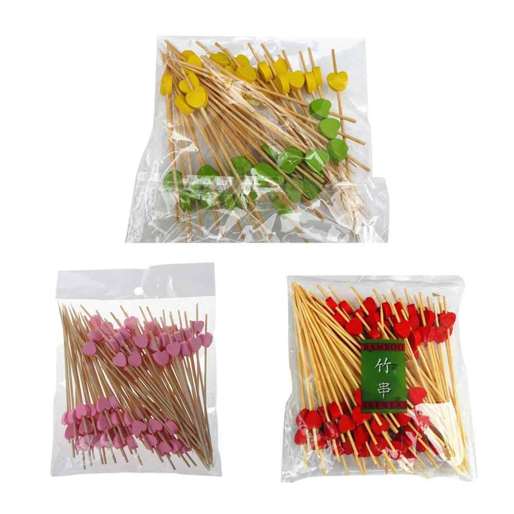 100Pcs 12cm Disposable Bamboo Heart Skewers Fruit Dessert Cake Sign Cocktail Picks Cute Food Sticks Buffet Cupcake Toppers Party