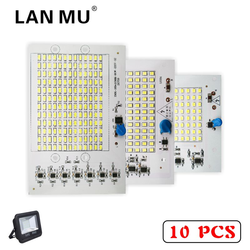 LAN MU 10PCS LED Lamp Chips 220V SMD Bulb 2835 5730 Smart IC Led Light Input 10W 20W 30W 50W 90W For Outdoor FloodLight smart bulb e27 7w led bulb energy saving lamp color changeable smart bulb led lighting for iphone android home bedroom lighitng