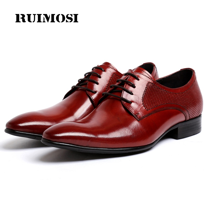 RUIMOSI Pointed Toe Breathable Man Formal Dress Shoes Genuine Leather Male Wedding Oxfords Luxury Brand Men's Bridal Flats PF67