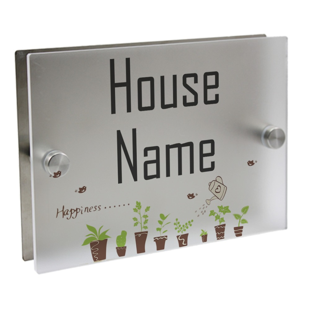 Cute Potted Plaques Outdoor Signs Personalized Modern House Number Door Sign Plaque Street Acrylic Matte Glass