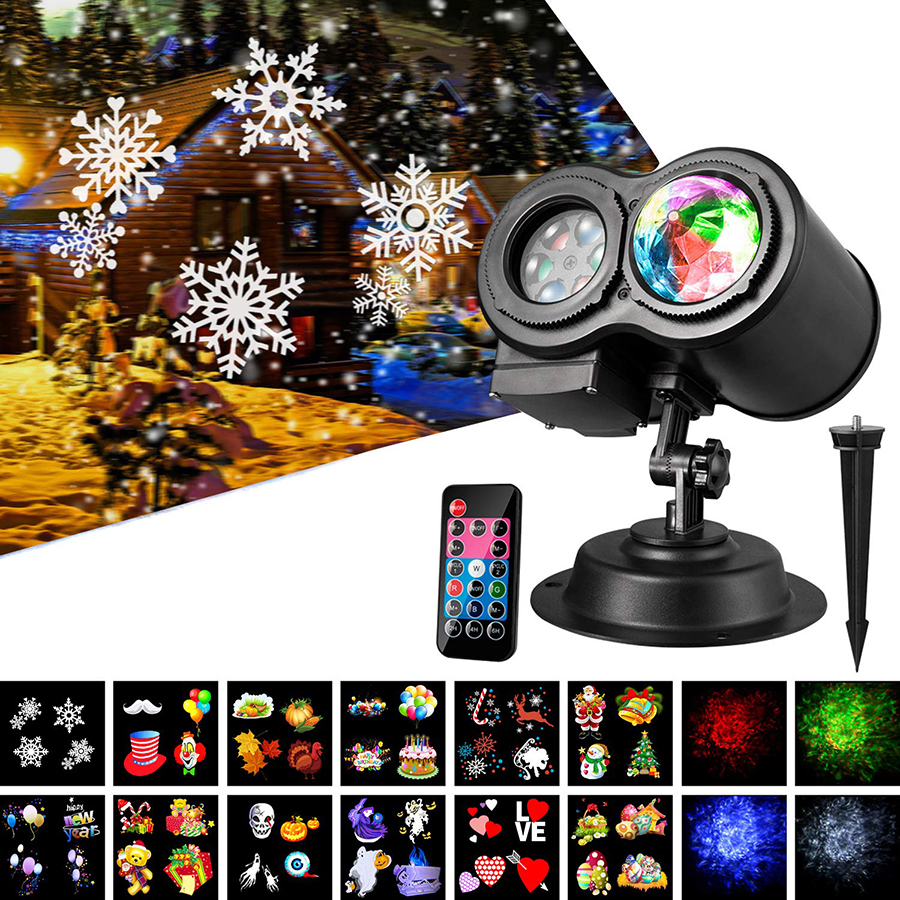 12 Slides Ocean Wave Snowflake Christmas Projector Lights Waterproof Outdoor Laser Projector New Year Party LED Stage Light