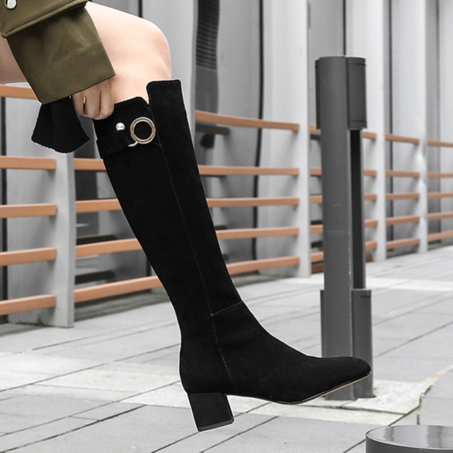 9a7a147bc2846 Fresh Stylish Cow Suede Leather Women Knee Boots Metal Circle Pearl Design  Lady Long Shoes Female Heeled Boots Plus Size 41