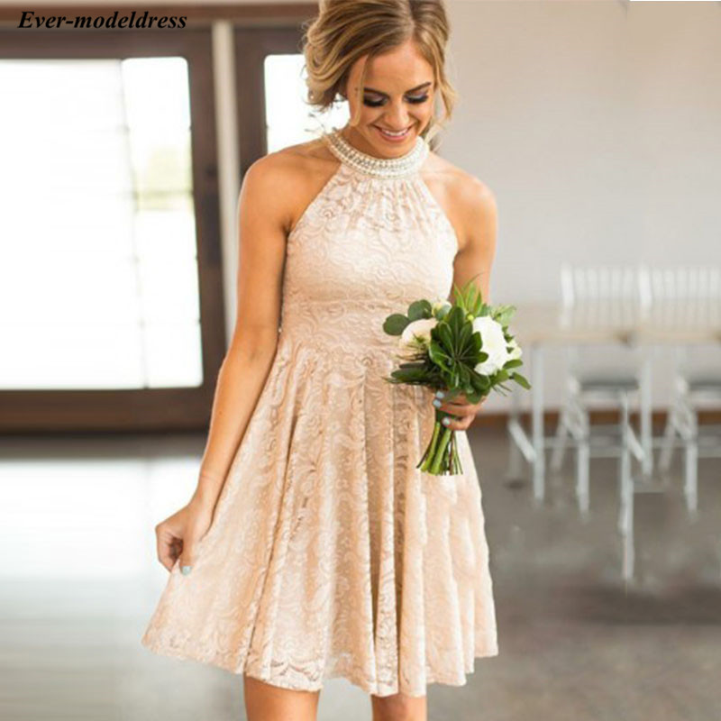 2019 Lace Champagne Short Country   Bridesmaid     Dresses   Halter Pearls Maid Of Honor   Dress   For Wedding Party