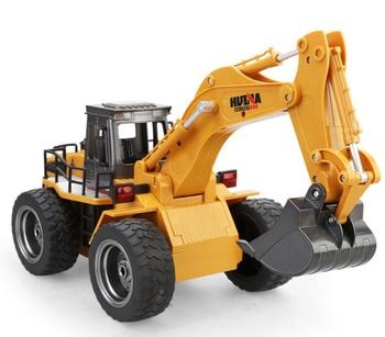 Telecar 6 alloy excavators Children's toy model Engineering vehicles Charging remote control vehicle