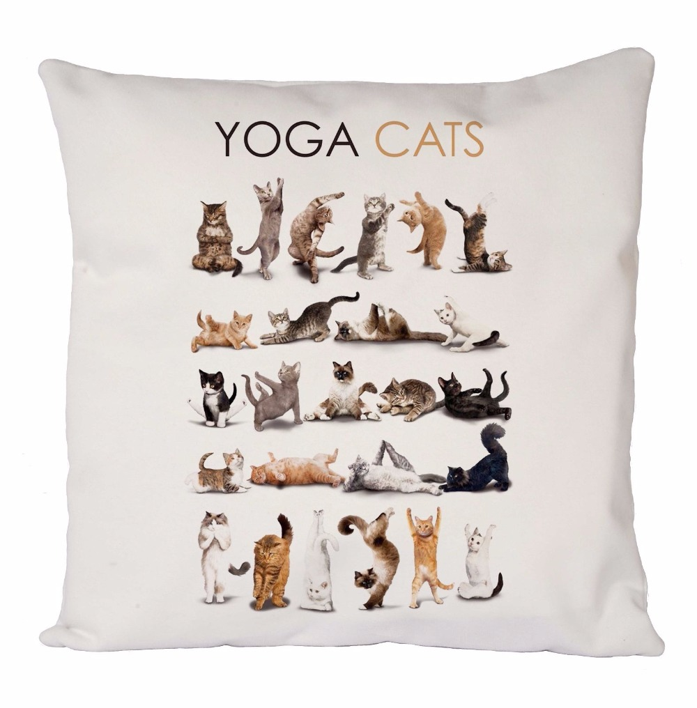 Novelty Yoga Cats Dogs Cushion Cover Funny Cat Dog Throw Pillow ...