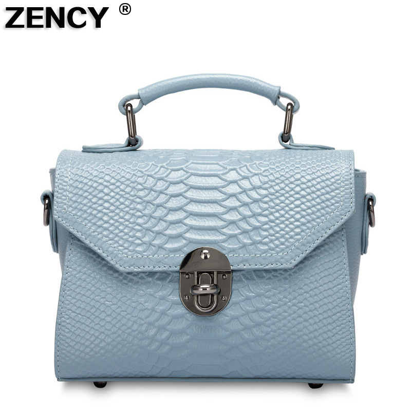 ZENCY 2018 Hot Genuine Real Leather Handbag Women Small Female Luxury Famous Brands Tote Shoulder Messenger Bag Purse Causal yuanyu 2018 new hot free shipping real python skin snake skin color women handbag elegant color serpentine fashion leather bag