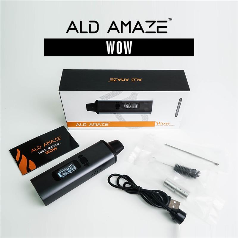 ALD AMAZE WOW dry herb vaporizer kit smoke herbal electronic cigarette 1800mAh portable vape pen 0