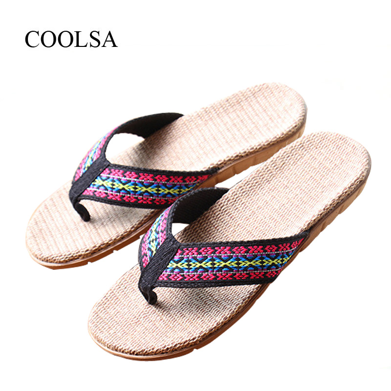 COOLSA Women's Summer Linen Flip Flops Slippers Women Flat Indoor Hemp Non-slip Flip Flops Women's Flax Slippers Beach Flip Flop coolsa women s summer flat non slip linen slippers indoor breathable flip flops women s brand stripe flax slippers women slides