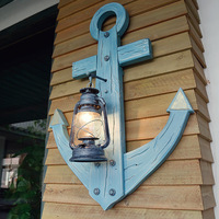 Mediterranean Antique kerosene lamp Ma Deng Wood Wall lamp Theme Restaurant Bar Light Creative Rudder Personality Wall lamp