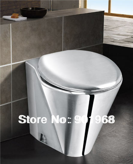 Home hotel office building WC wall hung stainlesss steel 18/8 toilet bowl with transparent seat and cover