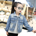 2017 New Spring & Autumn Fashion Kids Denim Jacket Pearl Girl Jean Jacket Children Outwear for Girl Baby Girl Jackets and Coats