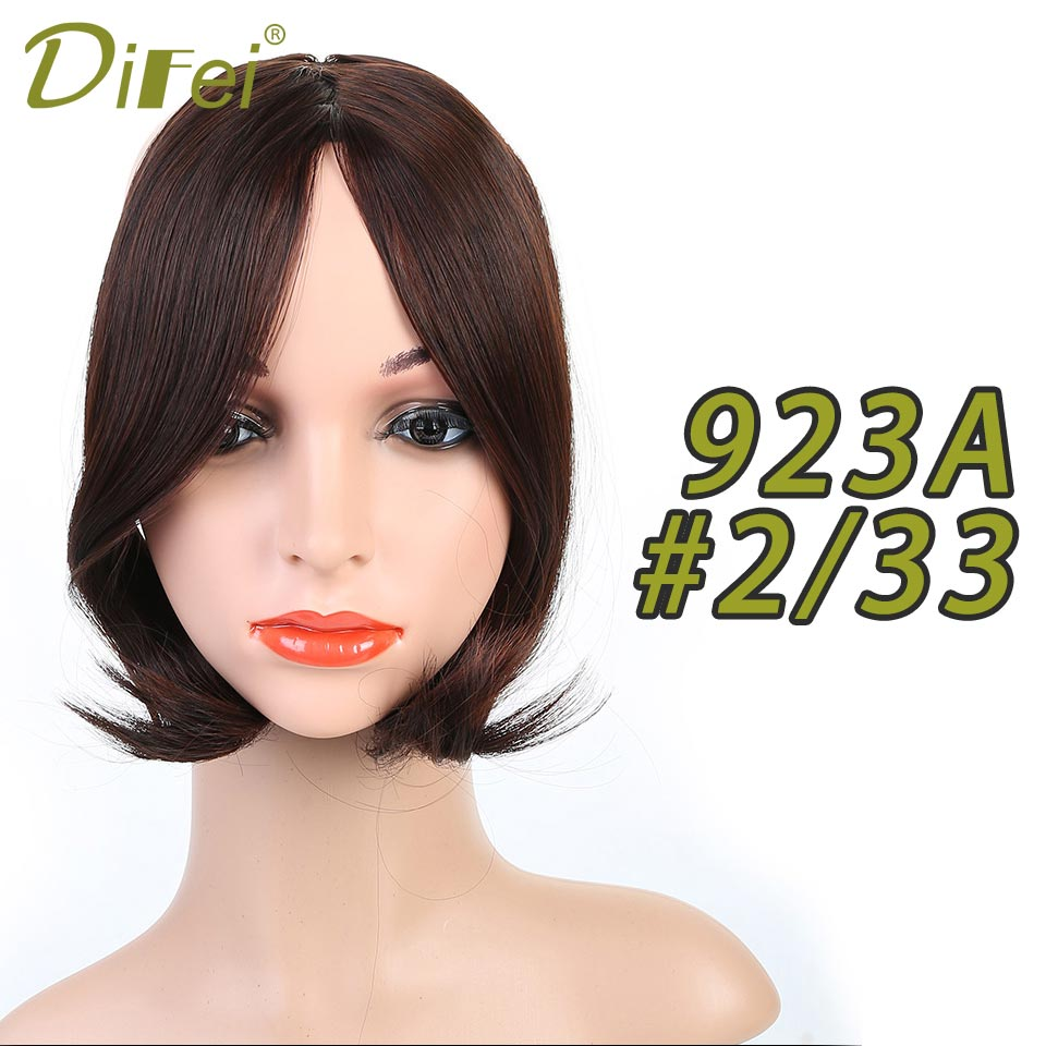 DIFEI Natural Straight Fiber Clip-in Middle Part Bangs Black/Light Brown/Dark Brown for Women Synthetic High Temperature