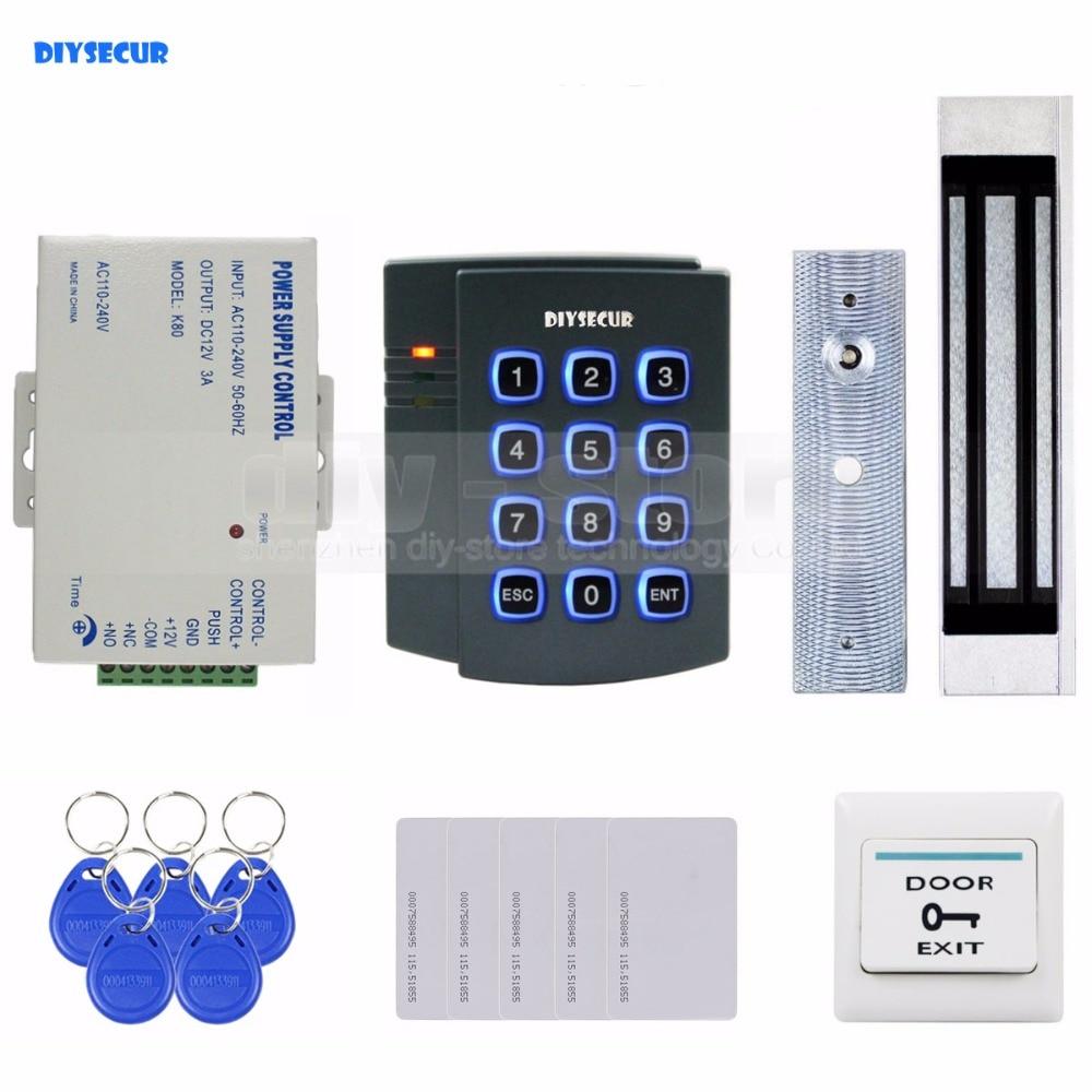 DIYSECUR 125KHz RFID Password Keypad Access Control System Kit + 180kg Magnetic Door Lock 2501 diysecur 125khz rfid reader password keypad 180kg magnetic lock remote control door access control security system kit