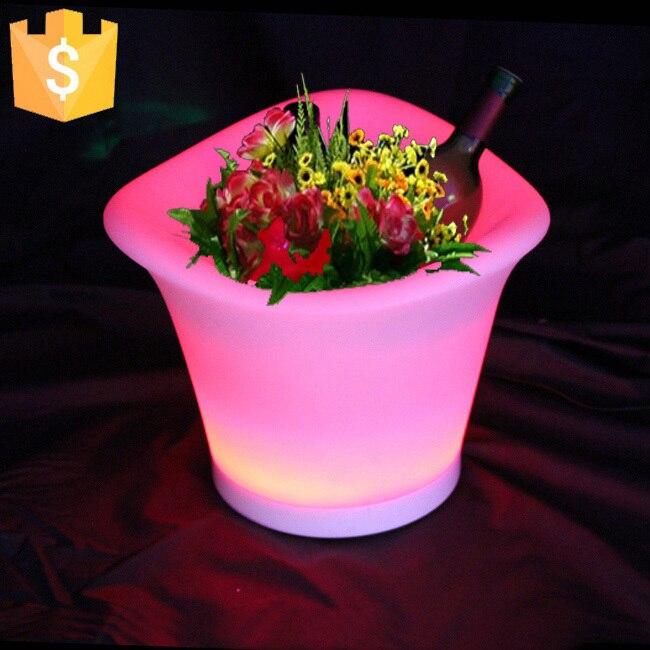 SK-LF09 (L34 * W34 * H27cm) PE rotomoulage RGBW Rechargeable Led fleur planteur Pots de plantation Pot décoratif lumières 4 pcs/Lot