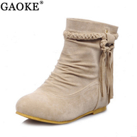 Suede Women Boots Classic Tassel Ankle Boots Round Toe Winter Women Boots Ladies Party Western Stretch