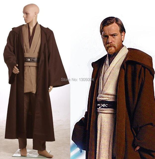 star wars costumes jedi knight master obi wan kenobi hoodie cloak full set outfit halloween costumes for men any size