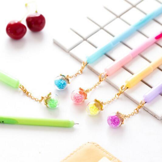 5 pcs lot Creative Noctilucent Fruit Wishing Bottle Pendant Gel Pen Ink Pen Promotional Gift Stationery