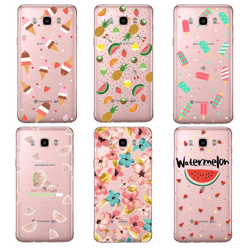 Fruit Flora Soft Clear TPU Phone Case For Samsung J3 J5 J7 S6 S7 S8 note8 A3 A5 C7 J2prime Pineapple SiliconeCover Free Shipping