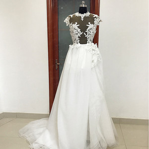 Image 4 - RSW557 Transparent Body Cap Sleeves Detachable Tulle Train Backless Wedding Dress