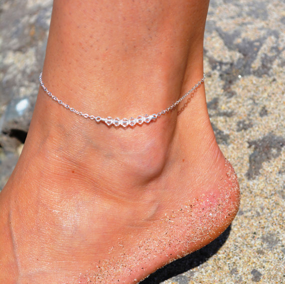 Silver Plated Transparent Beads Ankles Barefoot Chain Beach Jewelry Star Ankle Bracelet Anklet Jewelry Bracelet On The Leg 31 2