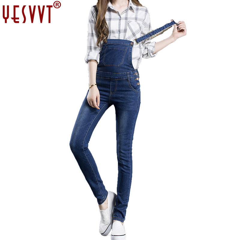 yesvvt Brand Women Denim Jumpsuit 2017 Spring Autumn Casual All Match Slim Vintage Loose Solid Jeans Overall Women Clothing