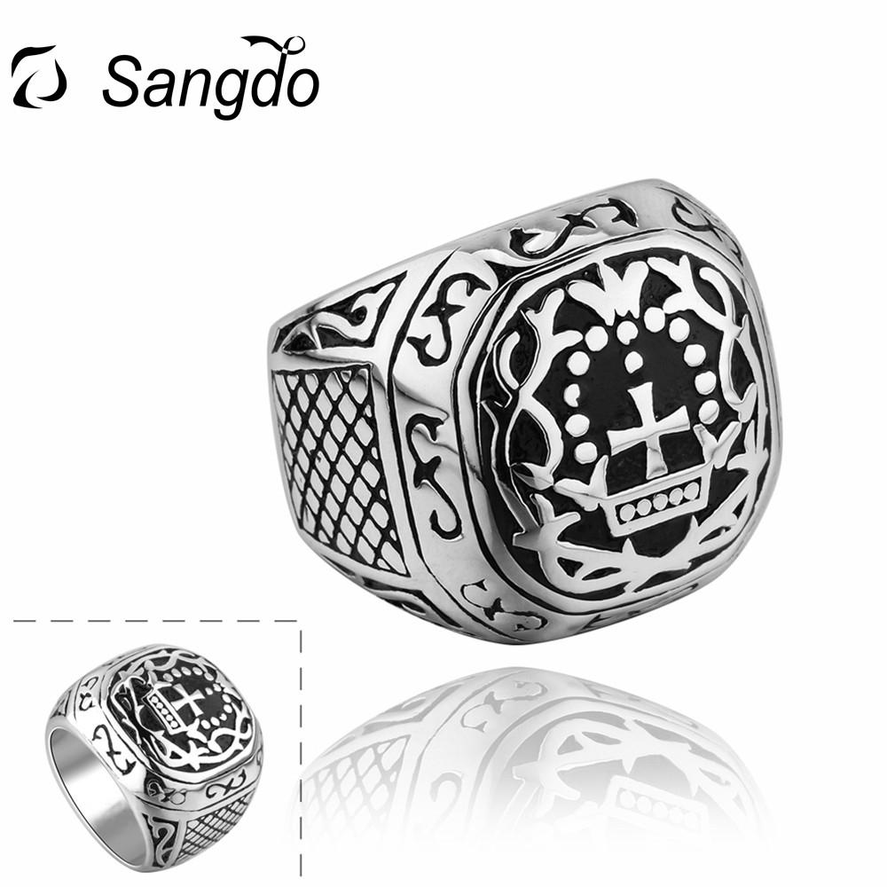 Sangdo 2017 Newest Personality Creative Stainless Steel Ring Retro Punk Cross Square Finger Rings Christmas Gift For Men ZK30