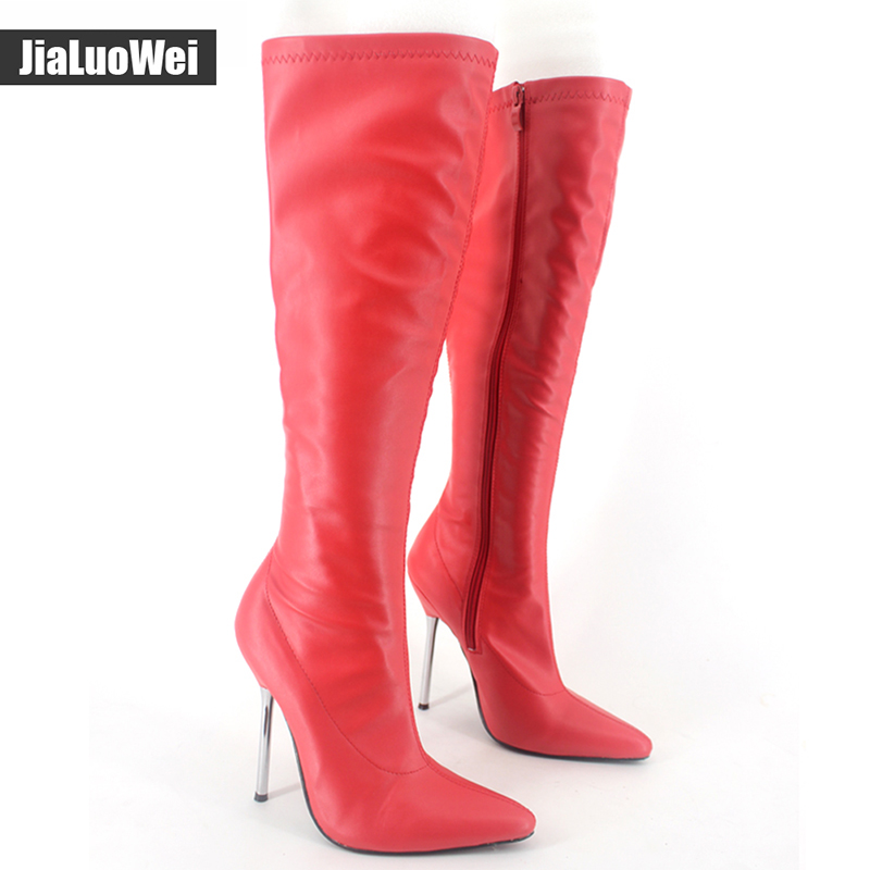 цена jialuowei 2018 New 12CM High Heel Pointed Toe Zipper Woman Boots Sexy Fetish BDSM Unisex Fashion knee High Boots Plus Size