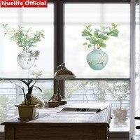 Plant green leaf potted pattern electrostatic frosted glass film living room bedroom bathroom kindergarten door pvc window film