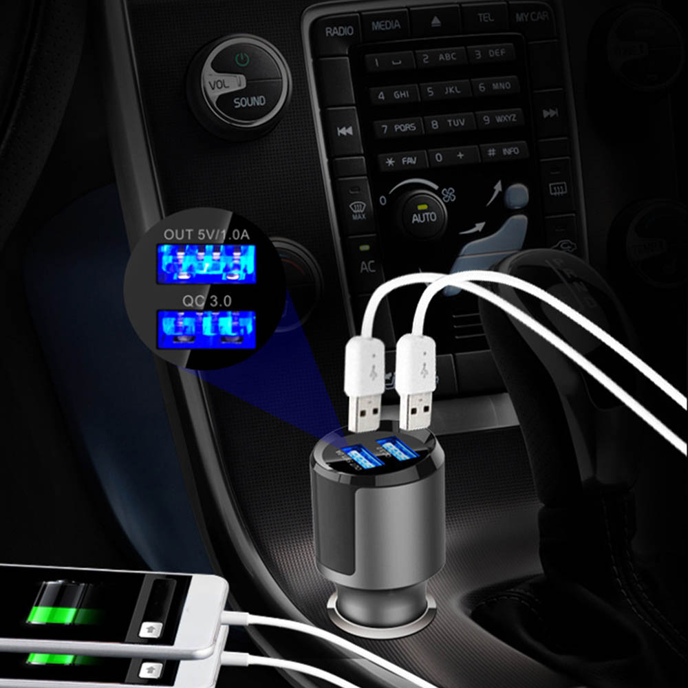 12V Car Air Humidifier Air Freshener 2USB Fast Charge Cigarette Lighter Auto Perfume Clip Purifier Aroma Aromatherapy Diffuser