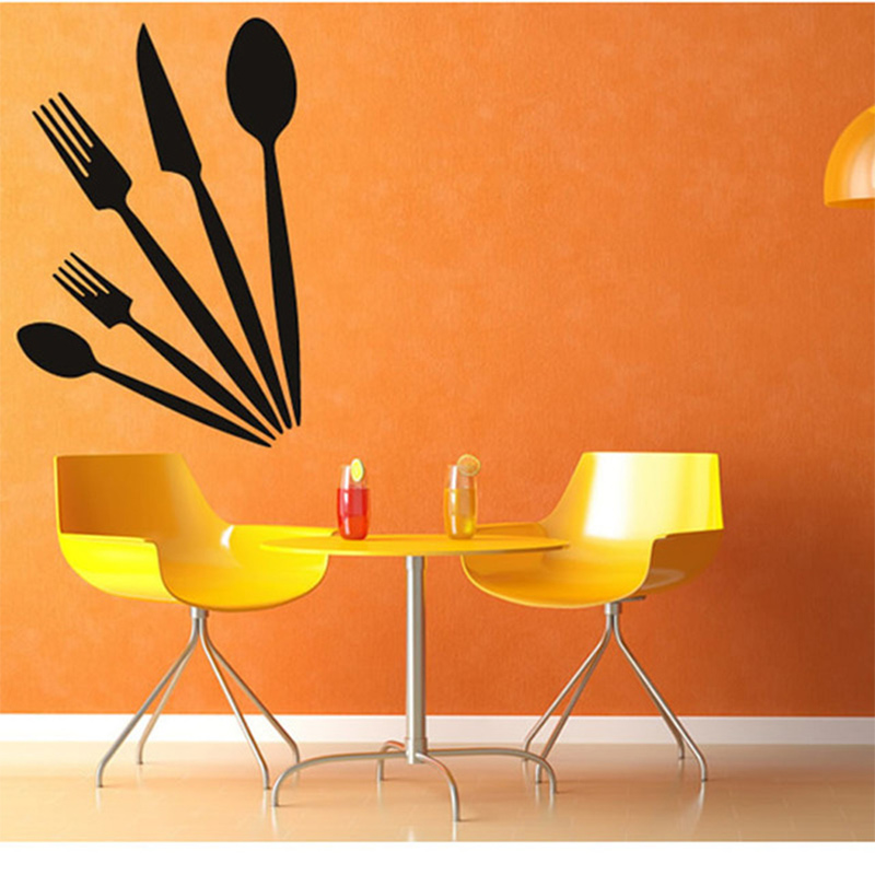 Cuchillo Cucharas Tenedores Adhesivos de pared cocina decoración vinilo  removible impermeable casa decoración de pared 6f4c55516167