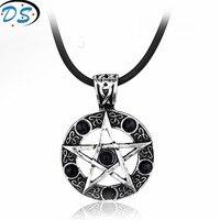 10 pcs/lot Black Butler Cristal Pentagramme Pentagramme Pendentif Hommes Collier Sorcière Protection Star Amulette Cordon En Cuir Chaîne Collier