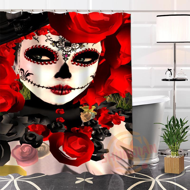 Custom Day Of The Dead Shower Curtain Waterproof Bathroom Fabric More Size Shower Dia De Los