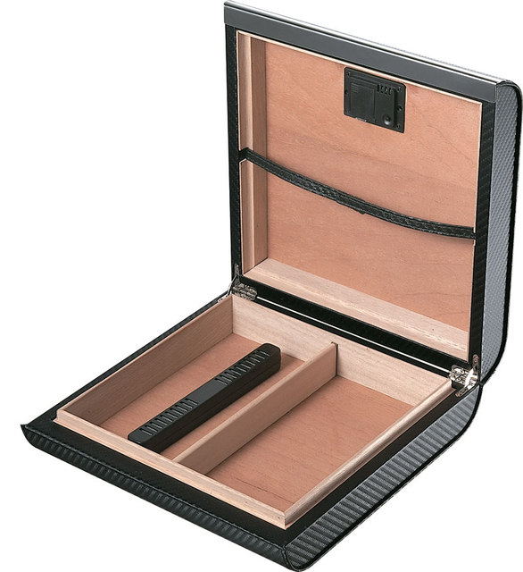 Portable Leather Cedar Wood Travel Cigar Humidor