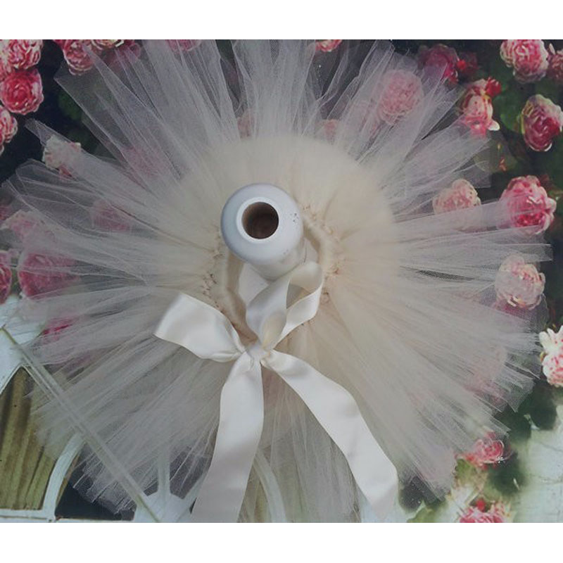 Лидер продаж; фатиновая юбка-пачка для маленьких девочек и повязка на голову с цветами; Комплект для новорожденных; реквизит для фотосессии; подарок на день рождения; 10 цветов; ZT001 - Цвет: only skirt beige