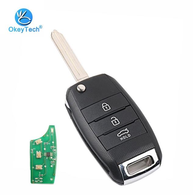 OkeyTech para Kia K3 clave remoto Flip plegable 3 botón 433 MHz con 70 Chip transmisor reemplazo Uncut hoja en blanco clave para Kia