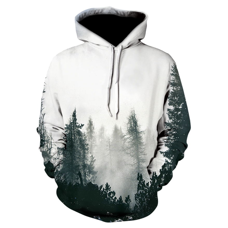 Men's hoodie autumn winter thin hooded sweatshirt 3D printing trees pocket drawstring unisex fashionable man pullovers hoodies