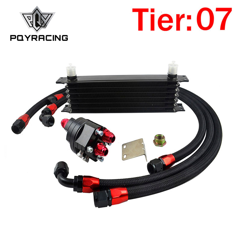 PQY RACING - Universal 7 Row 10AN OIL COOLER Aluminum Engine Transmission Oil Cooler Relocation Kit