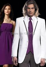 2016 Price Two buttons White Notch Lapel Groom Tuxedos Best Man Suits Groomsmen Men Wedding Suits (Jacket+Pants+Vest+Tie)
