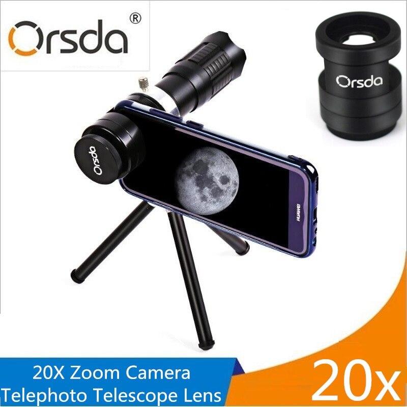 Orsda HD 20x Zoom Téléphone Mobile Télescope Lentille Téléobjectif Externe Smartphone Camera Lens Pour IPhone Sumsung Huawei Xiaomi lentilles