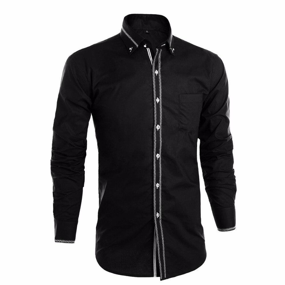 2016 luxury men shirts long sleeve mens dress for Black and white shirts men