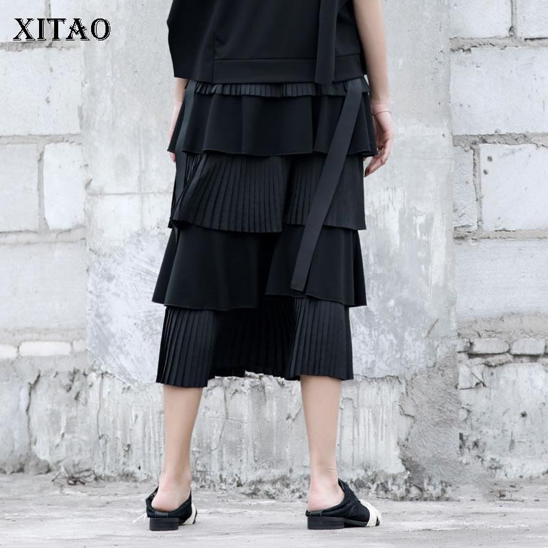 Plissée Solide De Nouvelle Femmes Corée Printemps 2019 Dll2478 Été Black xitao Jupe Mi Veau Femelle Lâche Mode Occasionnelle Couleur dSx4ztqn
