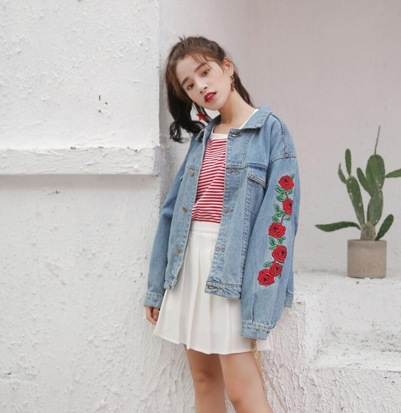 2018 Spring New Rose flower Embroidery Denim Loose Jacket Women