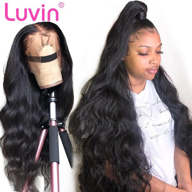Pelucas frontales de encaje Luvin 360 predesplumadas con pelo de bebé pelo brasileño onda del cuerpo cabello humano peluca Frontal de encaje de densidad 250 envío Gratis